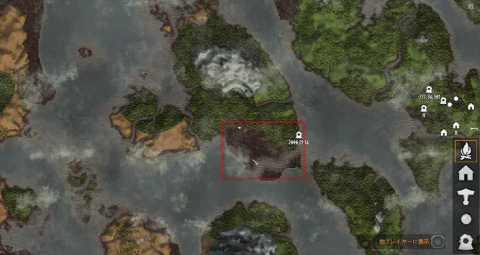 場所は沼でMAPで茶色くなっているところが沼エリアになります。